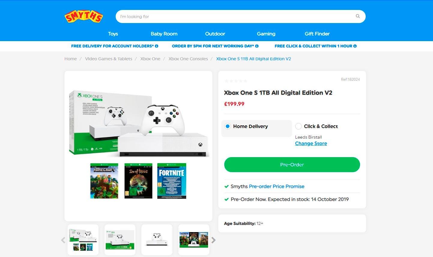Una tienda descubre un nuevo bundle para la Xbox One S All-Digital Edition con Fortnite