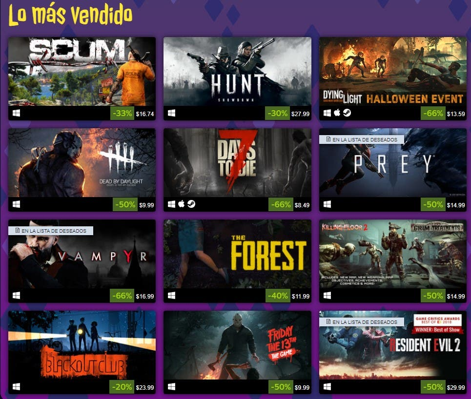 Las rebajas de Halloween 2019 de Steam ya están disponibles 2
