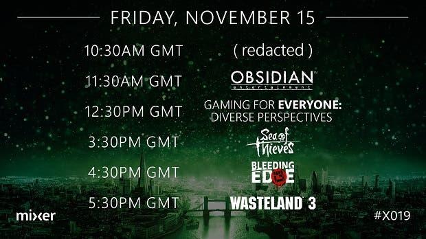 Primeros horarios del X019, con Obsidian Entertainment encabezando el evento 2