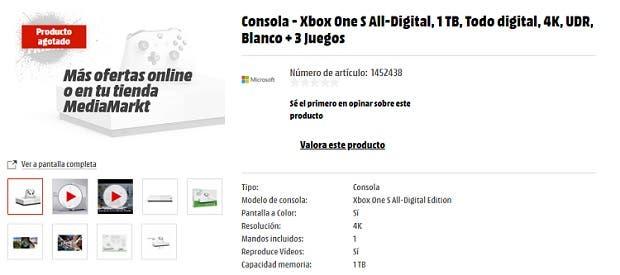 Agotada la Xbox One S All-Digital Edition por menos de 100€ en Media Markt 2