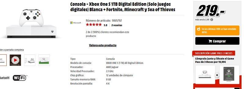 Más de 8.000 unidades vendidas de Xbox One S All-Digital Edition en Media Markt 2
