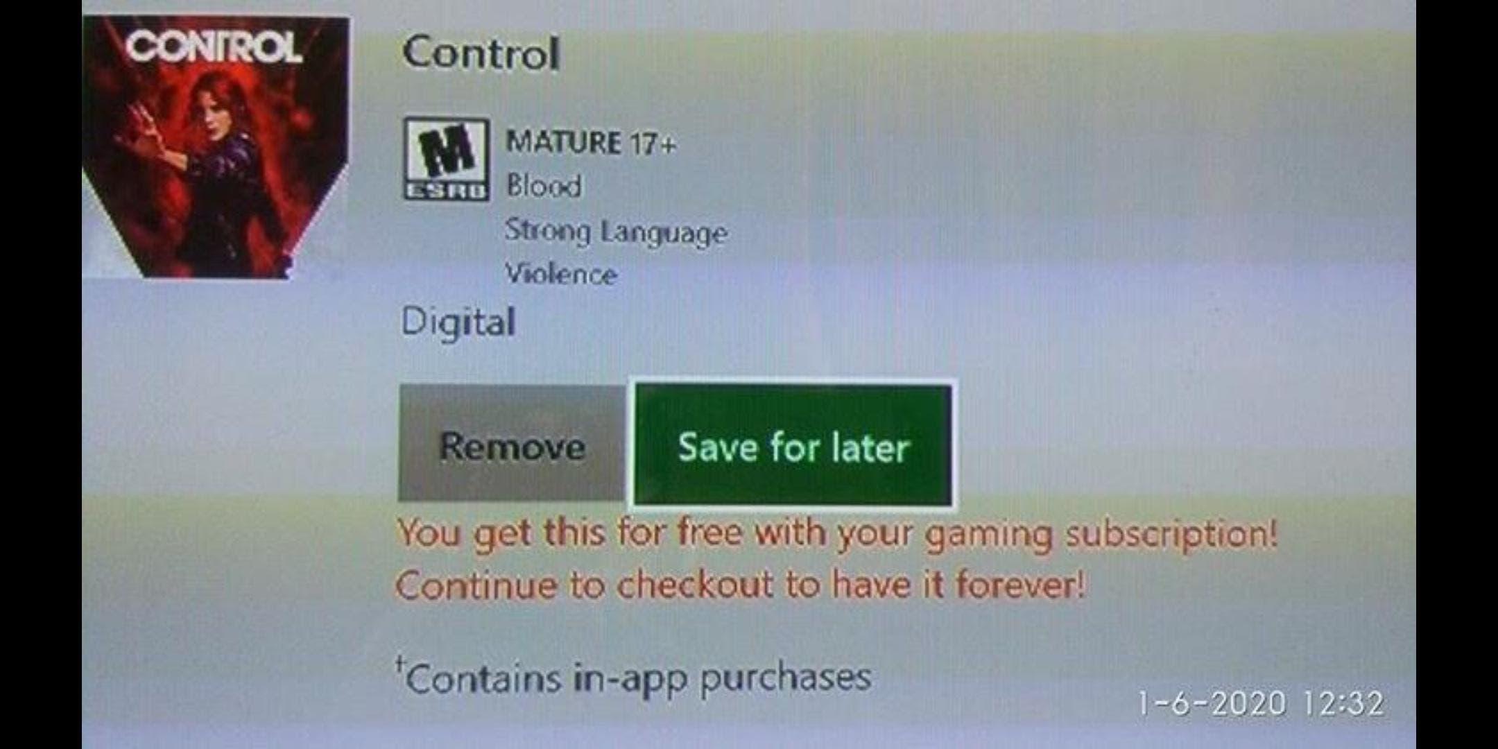 Control podría llegar pronto a Xbox Game Pass después de un error en la tienda de Microsoft 1