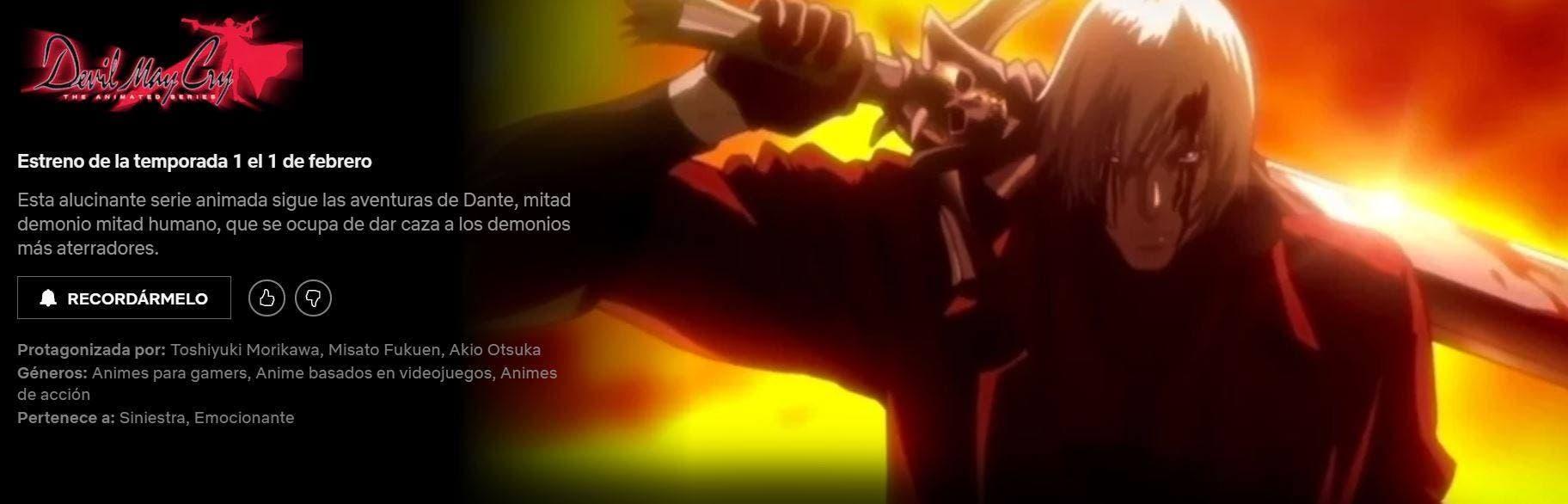 El anime de Devil May Cry llegará a Netflix España 2