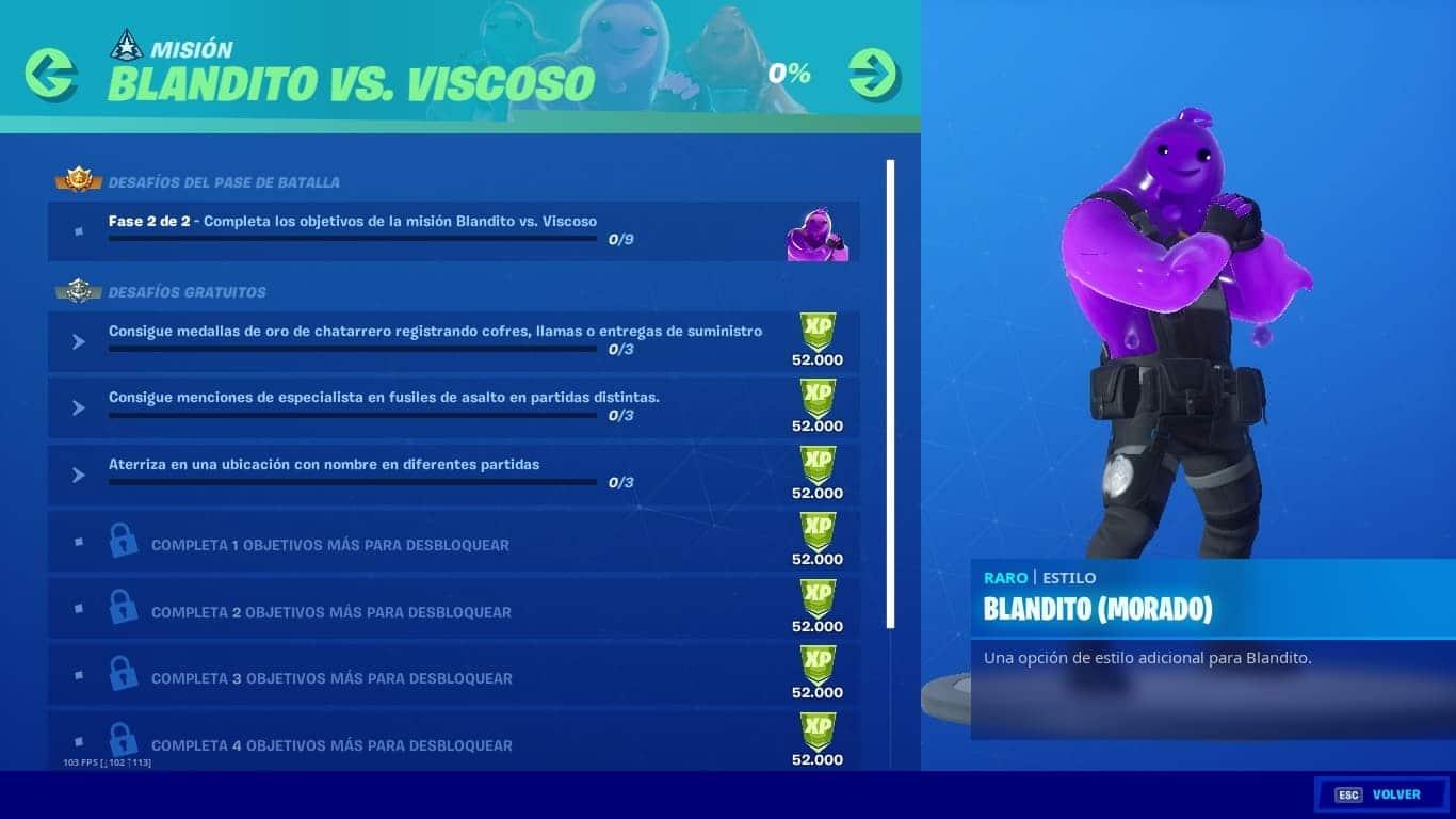 Cómo completar todos los desafíos de Blandito vs Viscoso en Fortnite Capítulo 2
