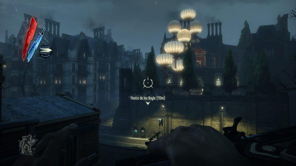 Captura de Dishonored con marcadores de misión en el HUD