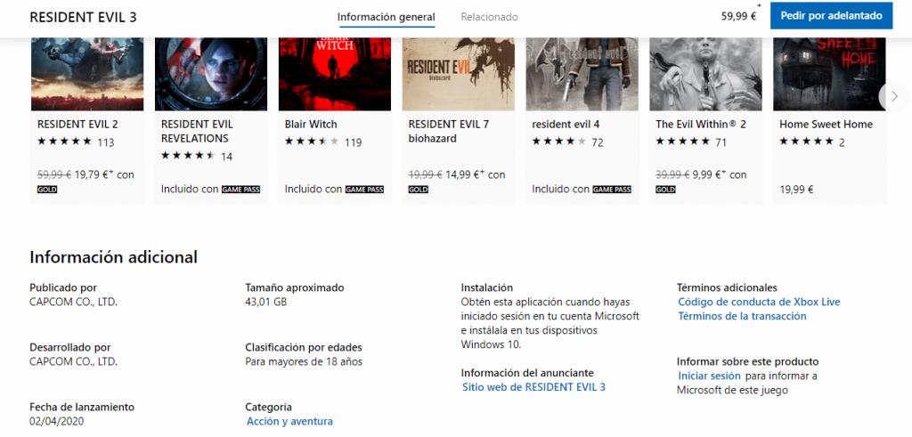Se desvela cuanto ocupará Resident Evil 3 en nuestro disco duro 1