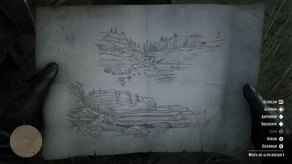 Mapa del tesoro de Red Dead Redemption 2