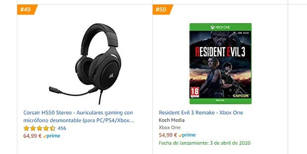 Resident Evil 3 se coloca entre los más vendidos de Amazon de Xbox One 2