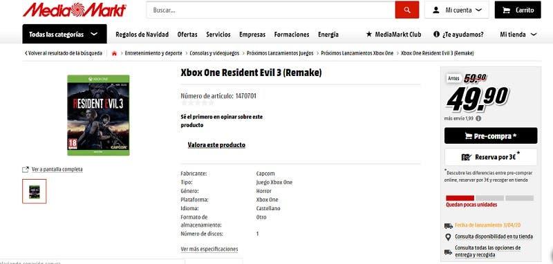 Las reservas de Resident Evil 3 en Xbox One en Media Markt ya se están agotando 2