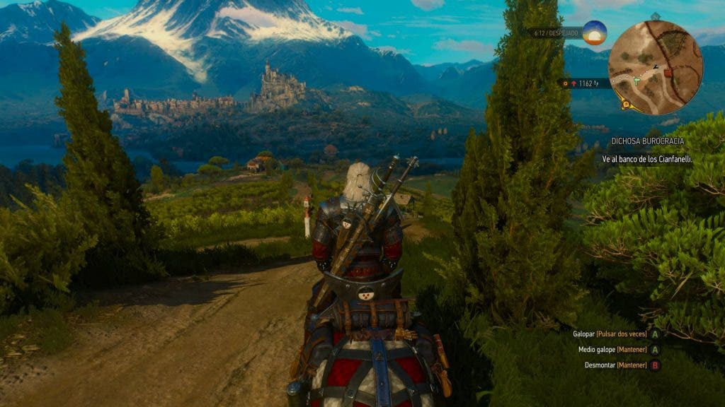 Captura de The Witcher 3 con minimapa en el HUD