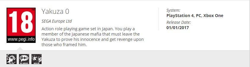 Yakuza 0 ya ha sido catalogado por PEGI para Xbox One y su llegada es inminente 2