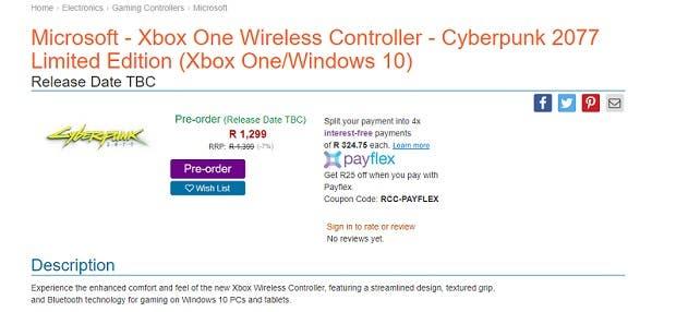 Filtrado el mando de Xbox One Edición Limitada de Cyberpunk 2077 2