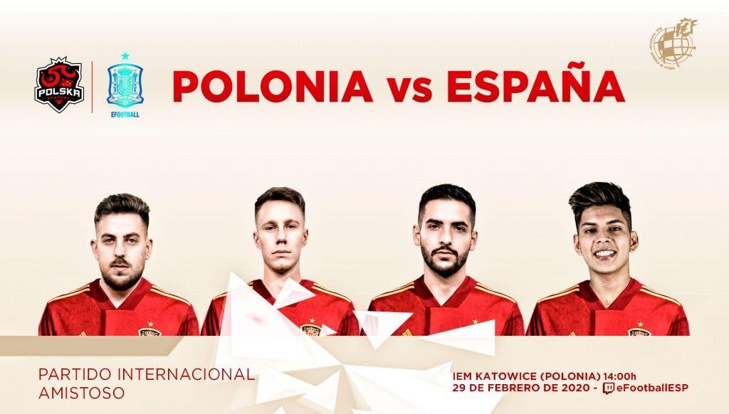 Duelo de selecciones nacionales de eFootball PES 2020 entre España y Polonia
