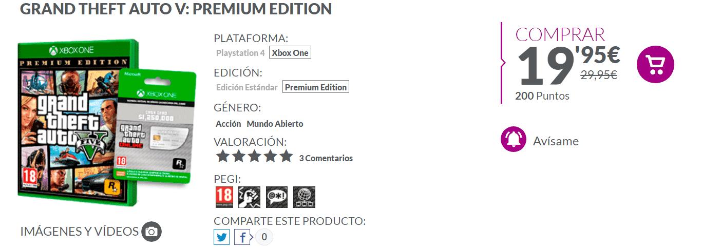 Llévate 1.250.000 GTA$ al comprar Grand Theft Auto V en GAME