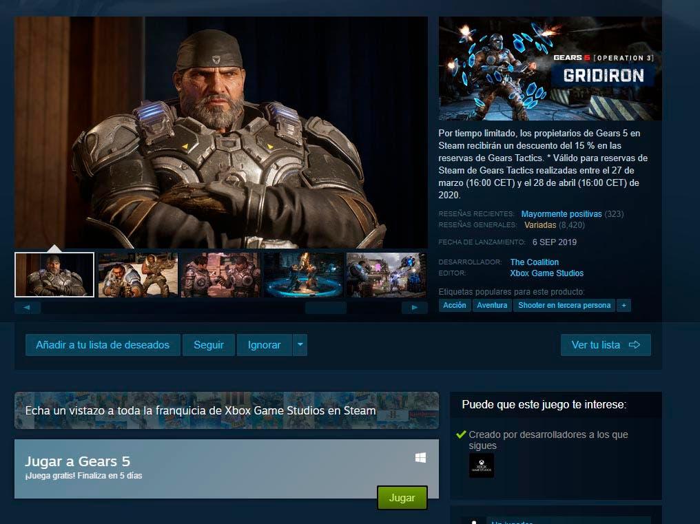 Gears 5 se ofrece gratis a los usuarios de PC incluyendo los de Steam 2