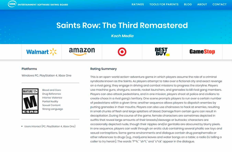 Nueva pista confirmaría el desarrollo de la remasterización de Saints Row The Third 2
