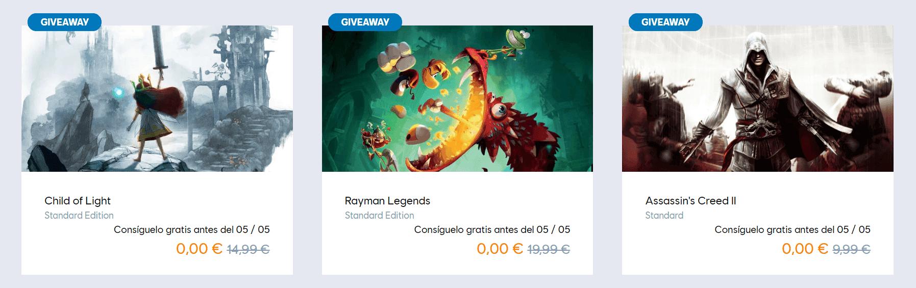 Ubisoft regala 3 juegazos gracias en su mes de juegos gratis