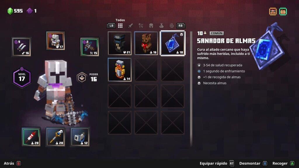 Sistema de equipo y progresión de Minecraft Dungeons