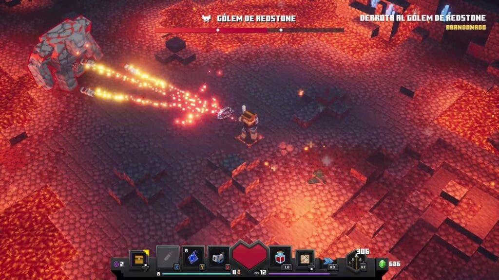 Jefe golem de Redstone de Minecraft Dungeons