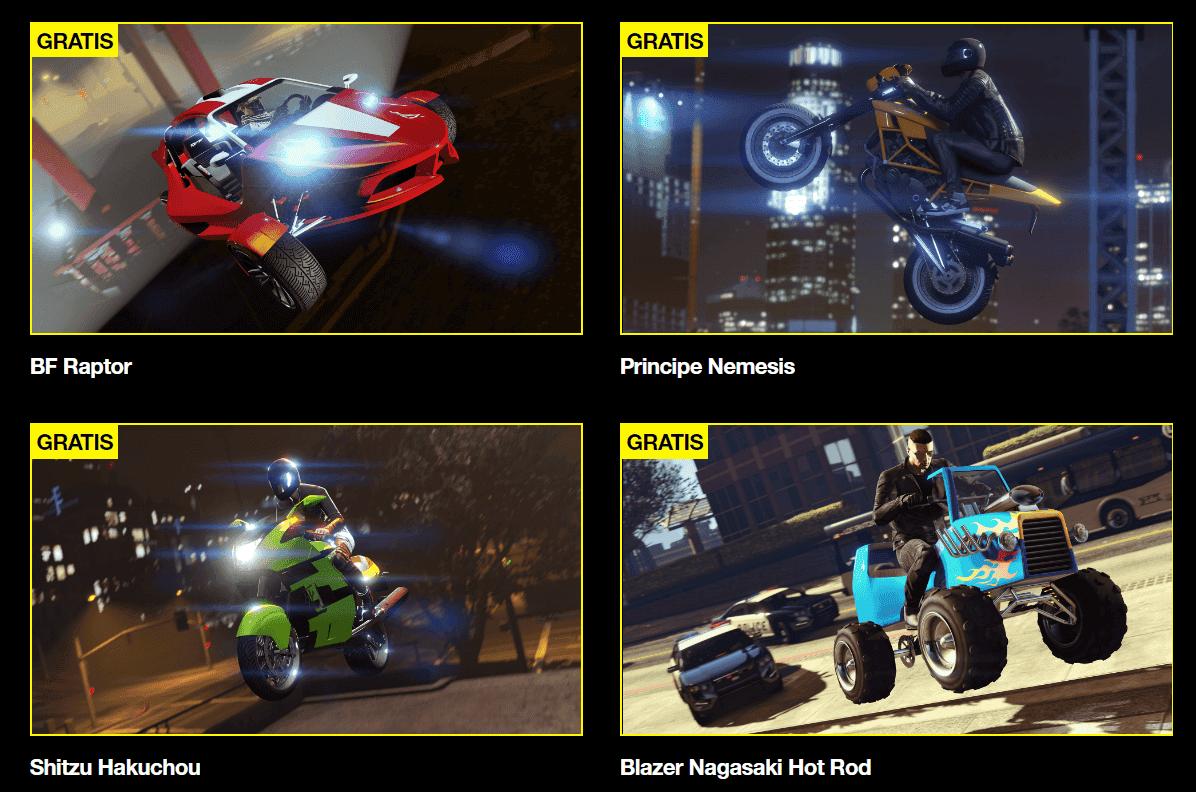 4 vehículos exclusivos gratis en GTA V Online