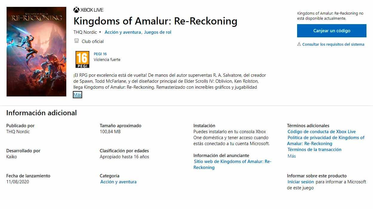 Se filtra la remasterización de Kingdoms of Amalur: Reckoning que llegaría en verano 1