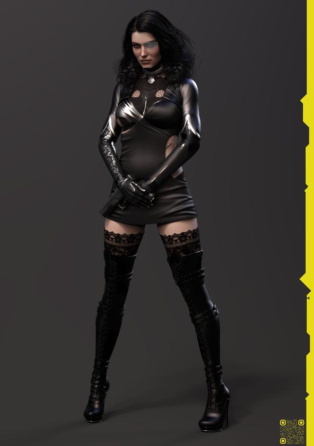 Así podría verse Yennefer en Cyberpunk 2077