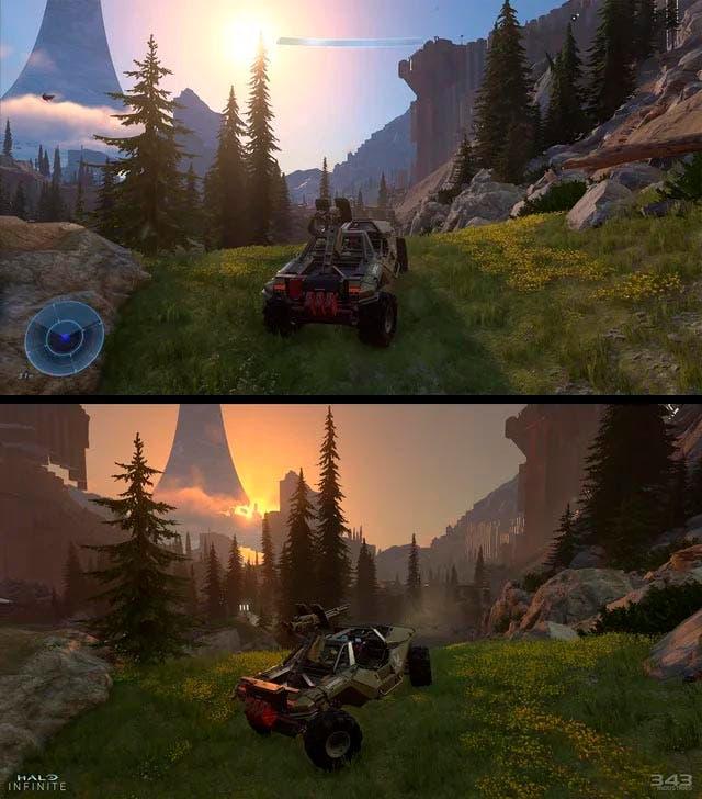 Dos imágenes de Halo Infinite muestran el ciclo día-noche y la iluminación dinámica 2