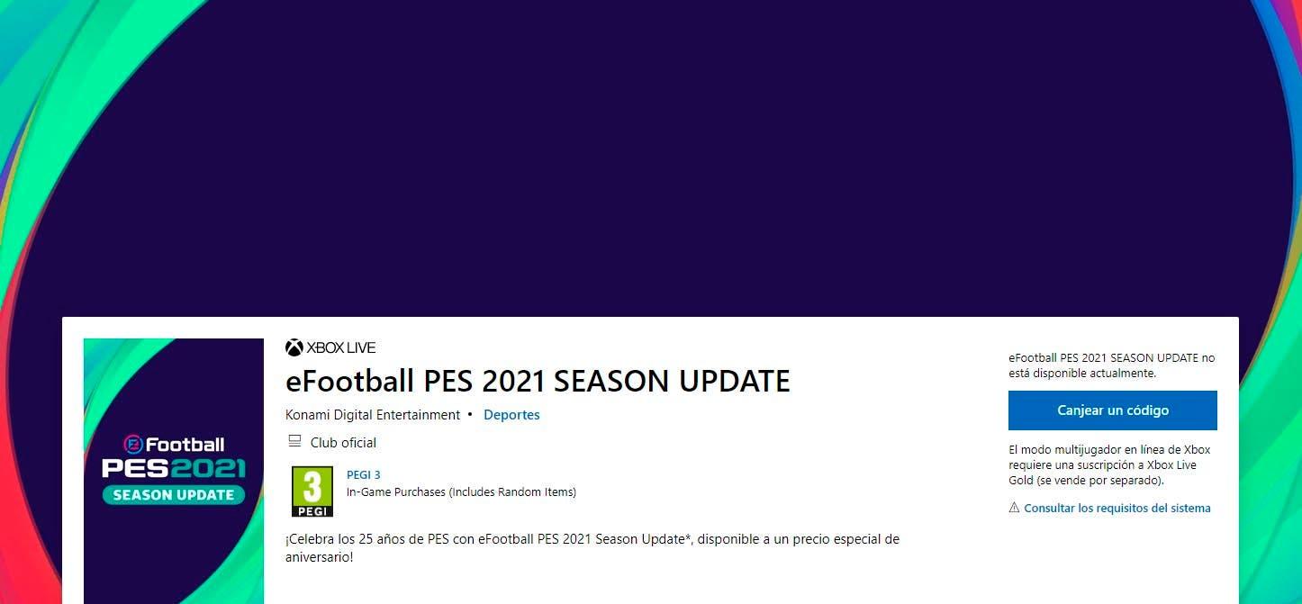 La Microsoft Store filtra la actualización para eFootball PES 2021 2