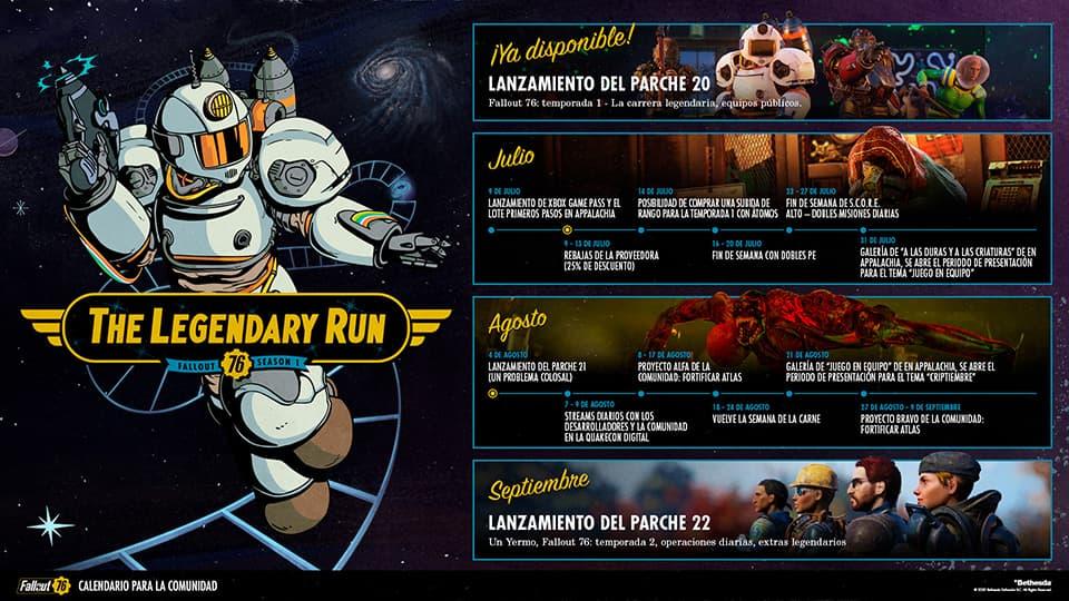 Calendario de la comunidad de Fallout 76 de julio y agosto
