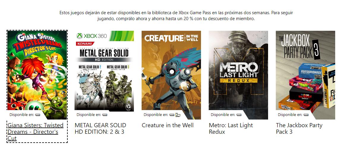 juegos que abandonarán Xbox Game Pass