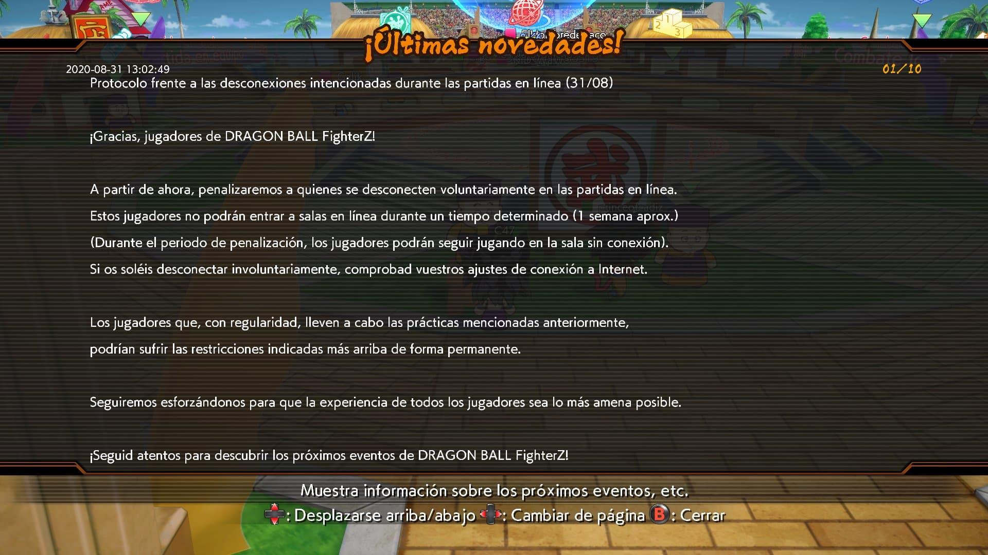 Los baneos por desconexión llegan a Dragon Ball FighterZ 1