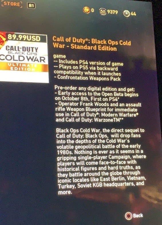 Se filtra la fecha de la beta de Call of Duty: Black Ops Cold War 1