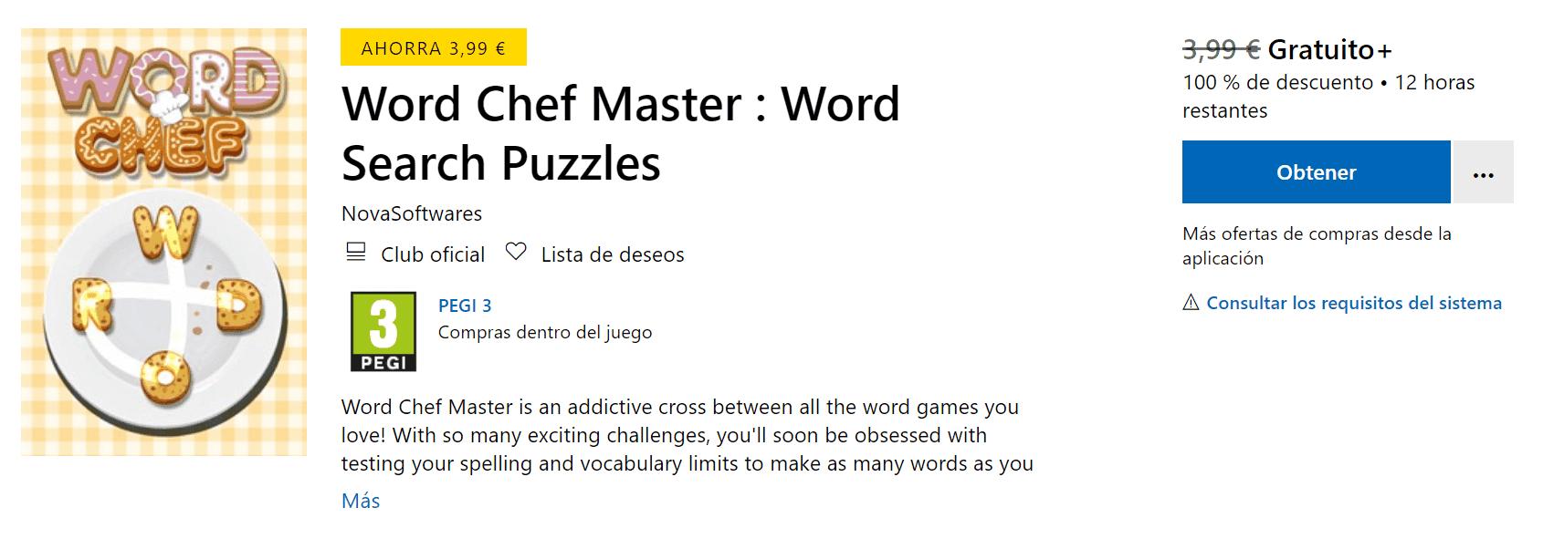 Descarga gratis Word Chef Master para Xbox One y PC