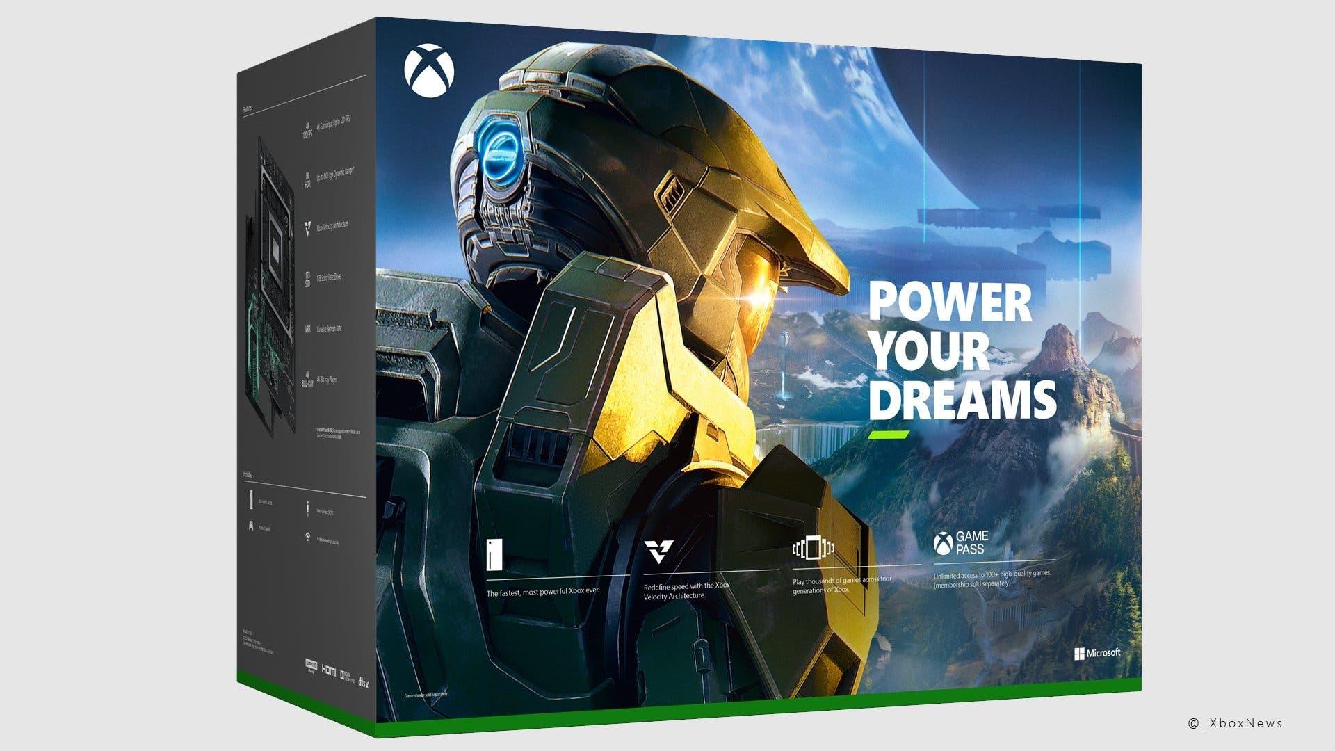 Halo Infinite aparece en la parte trasera de la caja de Xbox Series X