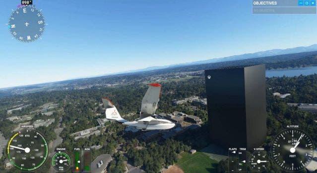 Xbox Series X gigante en Microsoft Flight Simulator