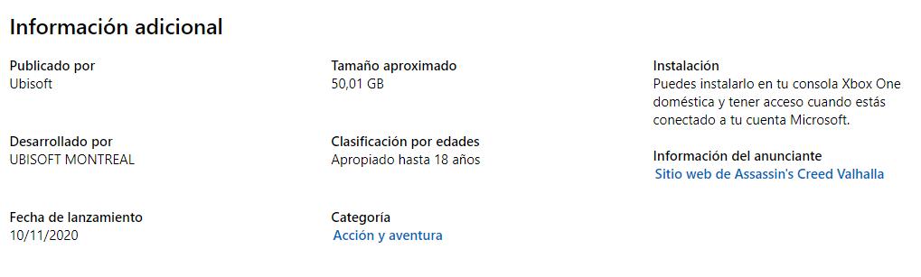 tamaño de descarga de Assassin's Creed Valhalla
