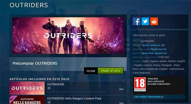 Outriders podría retrasarse a 2021, atendiendo a la fecha de lanzamiento de Steam 1