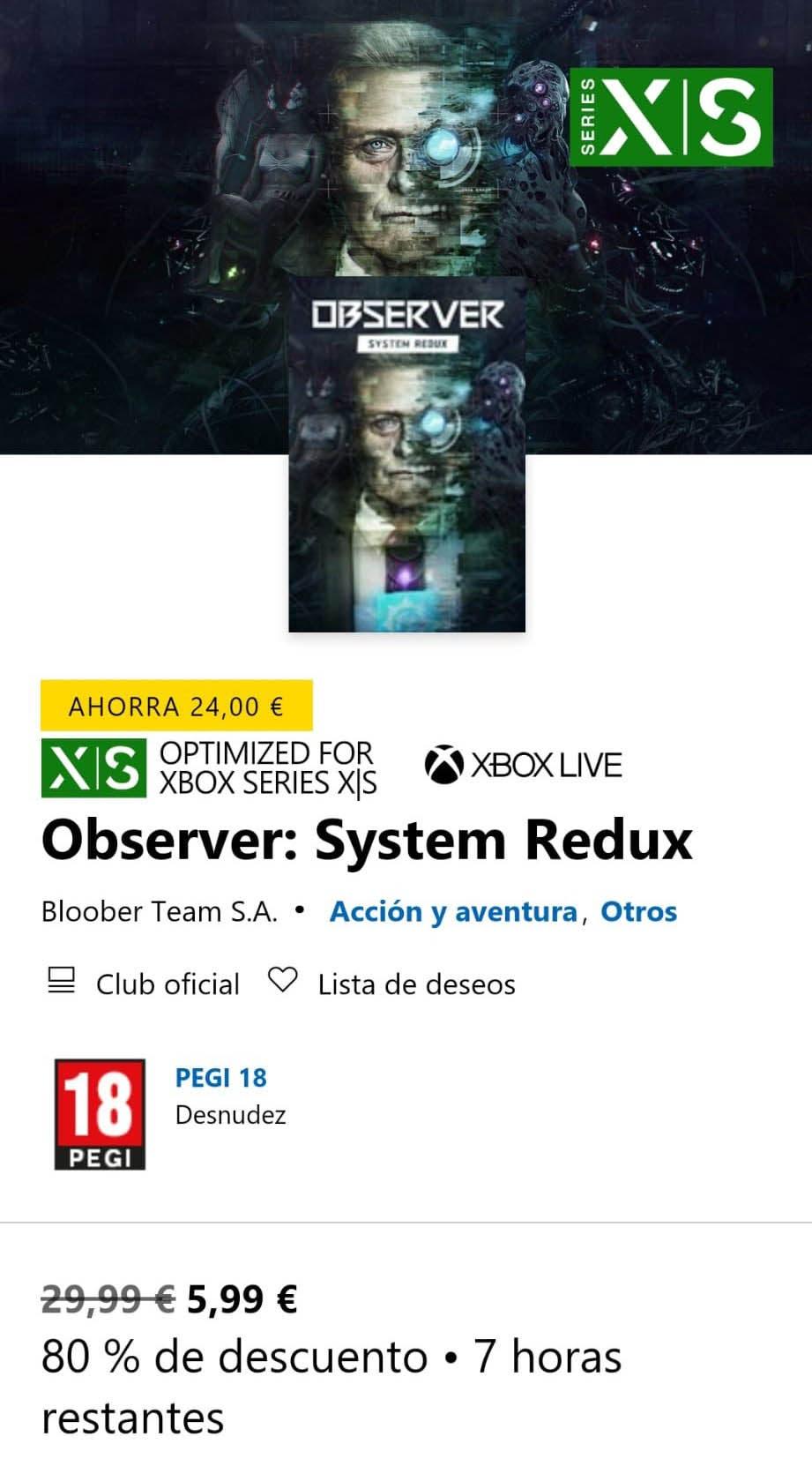 Consigue Observer: System Redux en Xbox Series X|S con un 80% de descuento hasta el 20 de octubre 1
