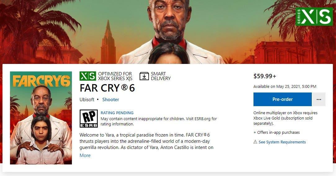 Se filtra la fecha de lanzamiento de Far Cry 6 en la Microsoft Store