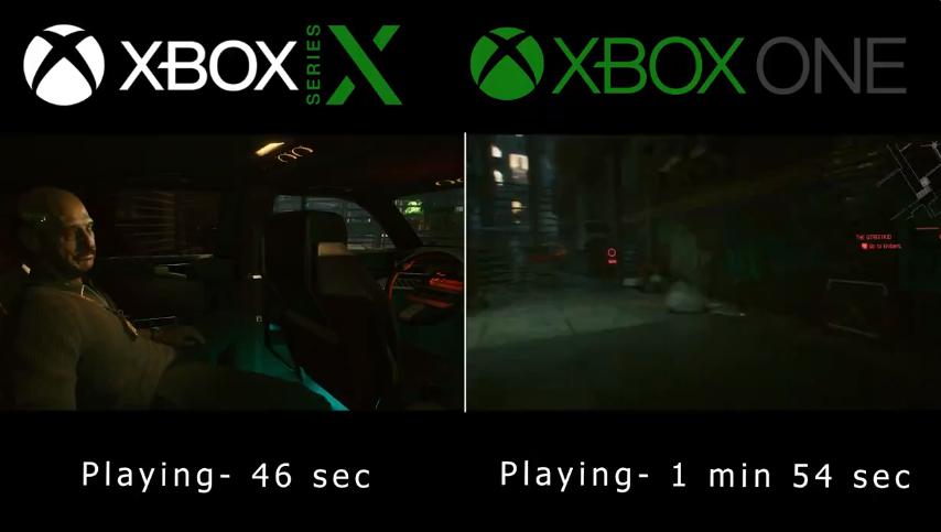 tiempos de carga de Cyberpunk 2077 en Xbox Series X y Xbox One