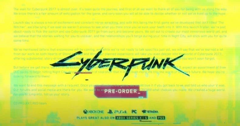 tráiler de lanzamiento de Cyberpunk 2077 oculta un mensaje