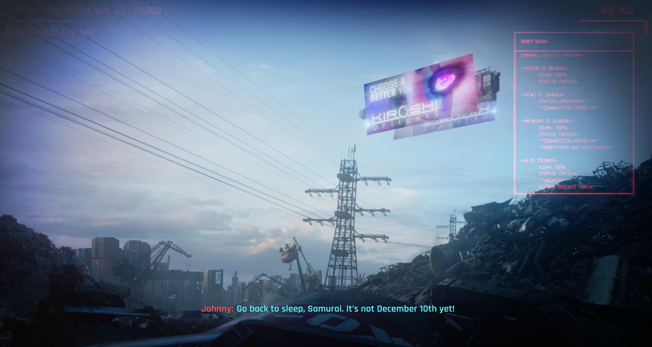 Johnny Silverhand te envía a dormir si intentas jugar a Cyberpunk 2077
