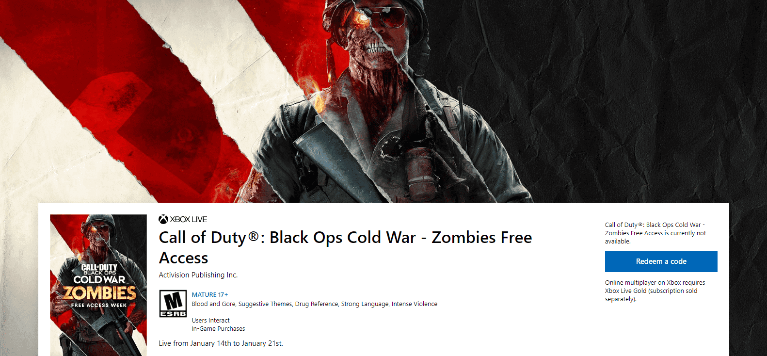 modo zombies de Call of Duty Black Ops Cold War estará gratis