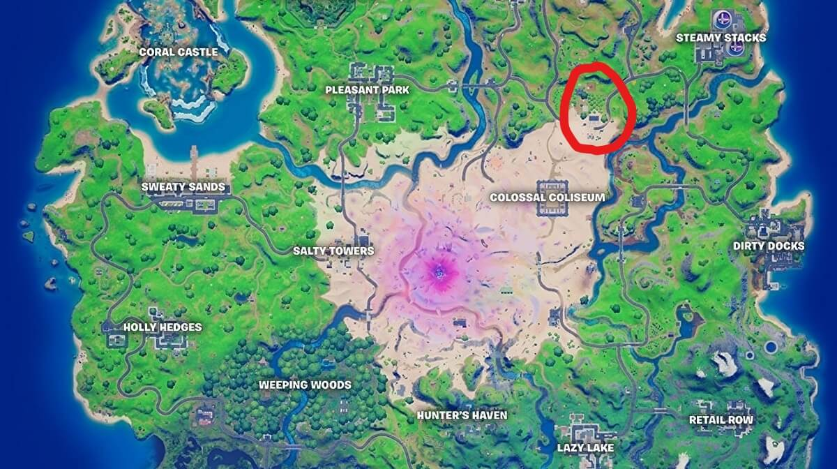 Location of the boxes of apples and tomatoes in Fortnite