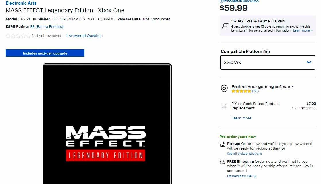 reservas de Mass Effect: Legendary Edition