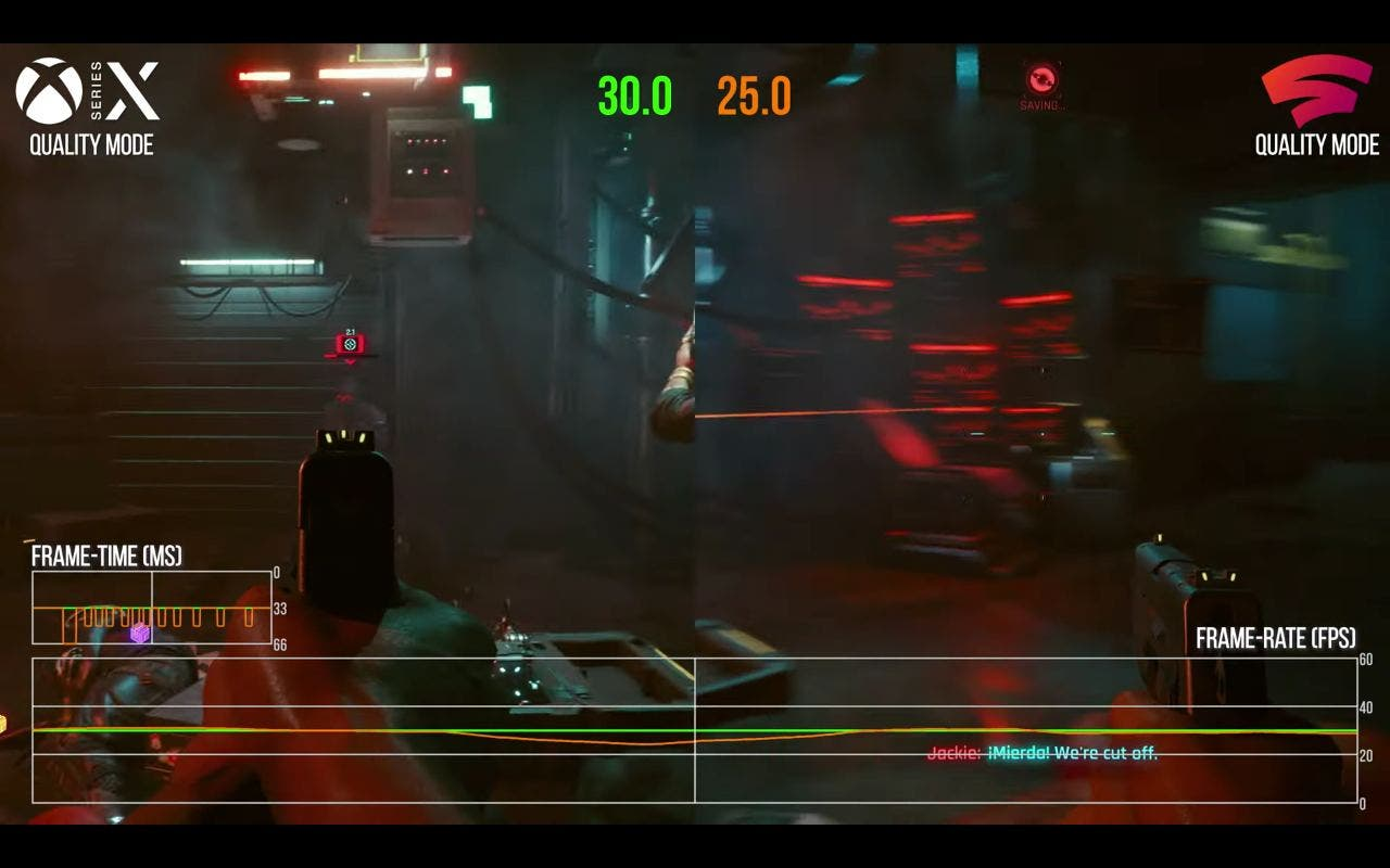 Cyberpunk 2077 en Xbox Series X y Stadia