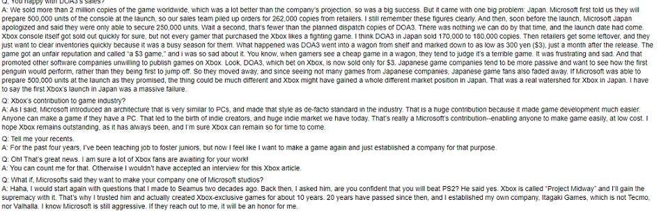 El creador de Dead or Alive quiere estar en Microsoft 2