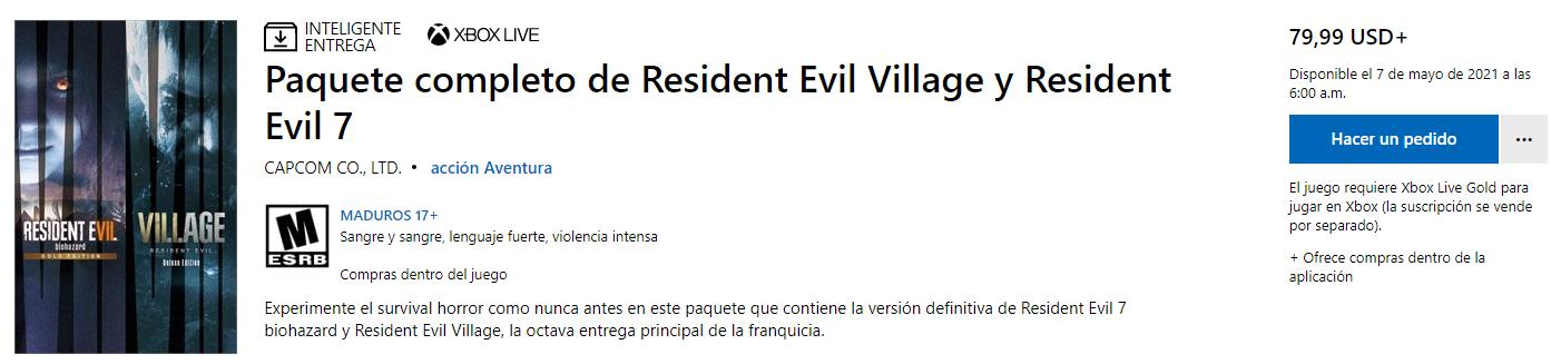 pack de Resident Evil Village y Resident Evil 7