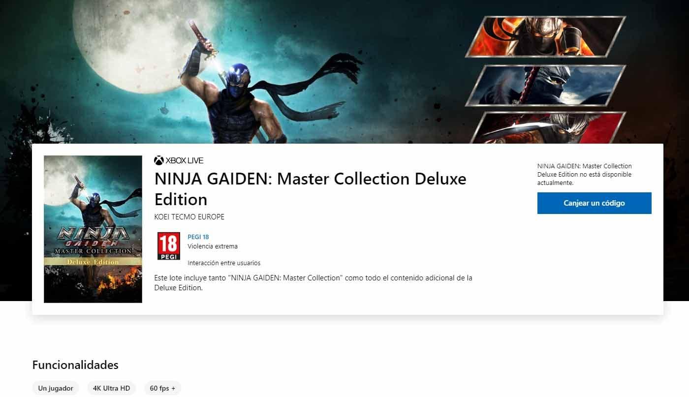 Los juegos de Ninja Gaiden Master Collection correrán a 4K y 60fps según la Microsoft Store 2