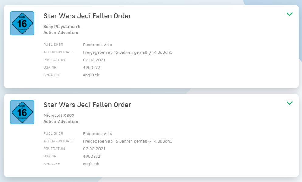 Aparece listada la versión de Star Wars Jedi: Fallen Order para Xbox Series X|S 2